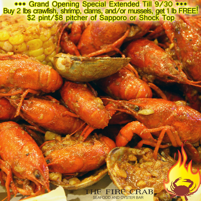 Fire Crab Garden Grove Crawfish Shrimp Mussels Clams Sapporo Shock Top Grand Opening Special