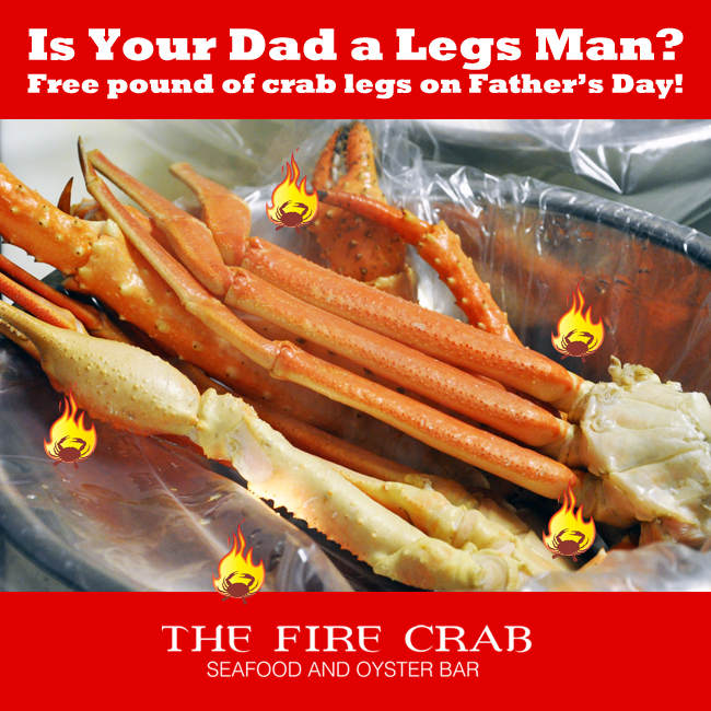 Free Crab Legs on Father's Day Orange County OC Cajun Restaurant Best Deal in Town