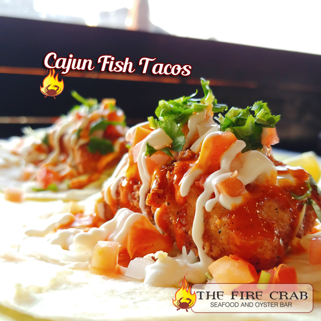 Cajun Fish Tacos Shrimp Orange County OC Fire Crab Onions Cilantro Tomatoes