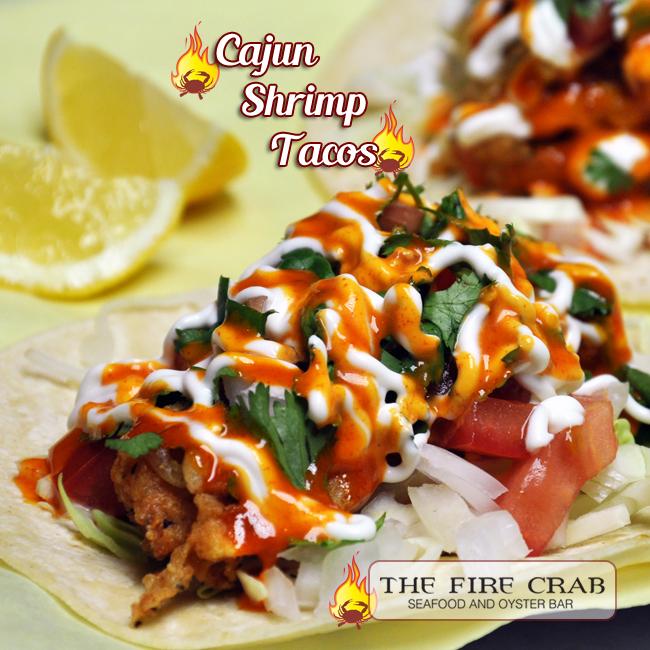 Cajun Shrimp Tacos Veggies Onions Tomatoes Cilantro Dressing Orange County OC Fire Crab