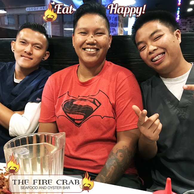 Eat Happy Customers Smiles Satisfied Orange County OC Fire Crab Crawfish