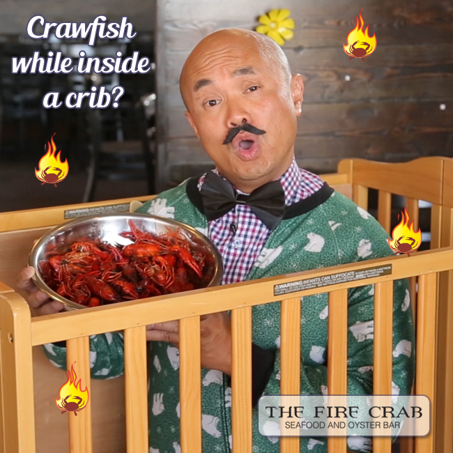 Live Crawfish While Inside a Crib A Bib Silly Commercial Funny Orange County OC Fire Crab