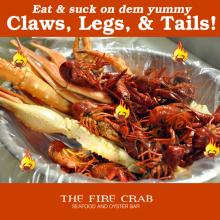Suck Seafood Claws Legs Tails Crawfish Crab Legs Garden Grove Orange County OC Fire Crab