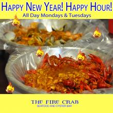 OC Happy Hour New Year Crawfish Cajun Orange County Fire Crab Shrimp Clams