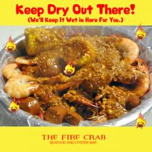 Keep Dry Wet Seafood Cajun Garden Grove Orange County OC Rain Fire Crab