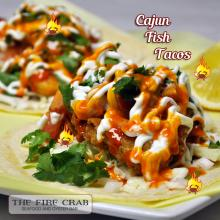 Cajun Fish Tacos Shrimp Tomatoes Onions Cilantro Sauces Orange County OC Fire Crab