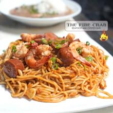 Cajun Garlic Noodles Shrimp Sausage Green Onions Customize Orange County OC Fire Crab
