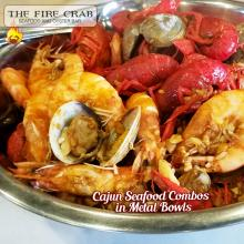 Cajun Seafood Combo Metal Bowls Live Crawfish Shrimp Clams Orange County OC Fire Crab