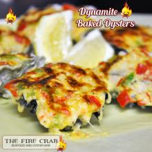 Dynamite Baked Oysters Cheese Mayo Spread Seafood Veggies Orange County OC Fire Crab