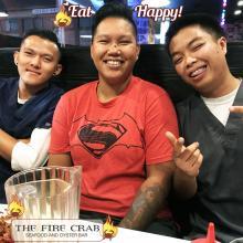 Eat Happy Customers Smiles Satisfied Orange County OC Fire Crab Crawfish